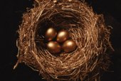 Photo of golden eggs in a nest